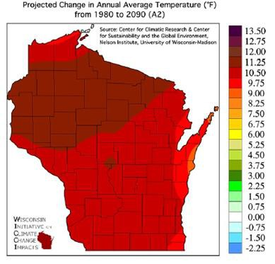 Wisconsin Climate Change Time Traveler - What's the future for Wisconsin's climate?